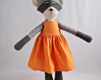 "18"" doll dress, orange calico polka dot print cotton dresses"