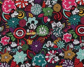 mi017A - 1 Yard VB Cotton Woven Fabric - Mickey Minnie Mouse Perfect Bloom Main (W140)