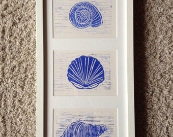 "framed ""sea shells"" linoleum print"