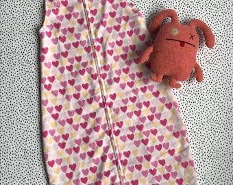 Pink hearts sleepsack - small