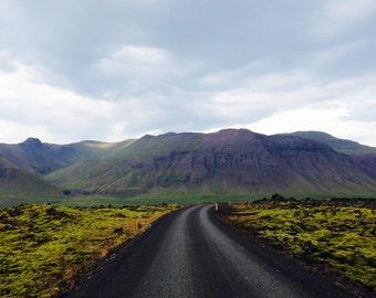 Icelandic Highway; Iceland Art, Iceland Prints, Icelandic Views, Iceland Photography, Iceland Mountains, Iceland Roads, Iceland Road Trip