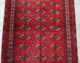 148 x 118 cm (4.9 x 3.9 ft) Bucchara carpet, Turkmen rug, handmade, oriental rug, hand knotted, old, wool.