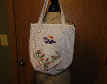 Rare Hand Made Hanky Tote Bag, Sewn and Custom Embroidered Maiden Tote Hand Bag, White w/Purple Raised Silver Speckle Purse,Collectible Tote