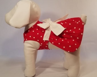 Dog Dress Red With White Polka Dots - Dog Clothes Pet Clothes