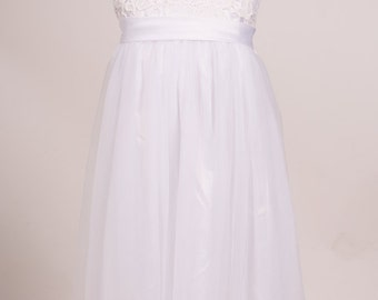 SALE Ivory lace bodice with soft flowy tulle Flowergirl dress long length sash colour customised