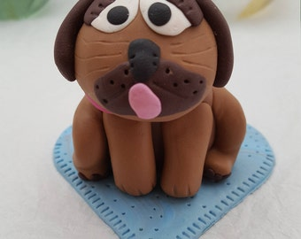 Polymer Clay Pug Sat on a Heart Shape Bed Birthday Cake Topper / Decoration