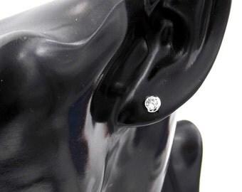 Women's earrings white gold 14 kt Point White zircon earrings 14kt white gold girls-Ladies with white zircon for girls