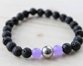 CHAKRA #7 UNDERSTANDING bracelet, for him, for her, unisex bracelet, unisex jewelry, lavarock and purple jade, diffuser jewelry