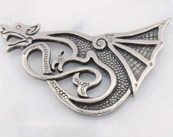 "Silver brooch ""Lucky Dragon"""