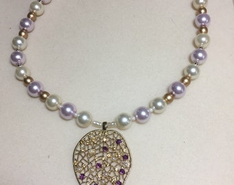 Lavender and white pearl necklace
