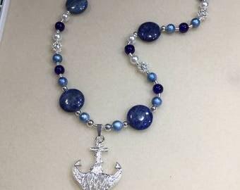 Lapis/silver anchor necklace