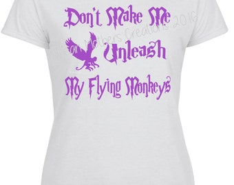 Don't make me unleash my Flying Monkeys Tshirt Wiccan Witch witchcraft