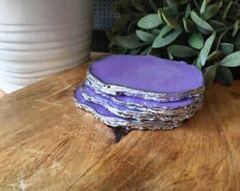 Macaroon Resin Agate Crystal Coasters