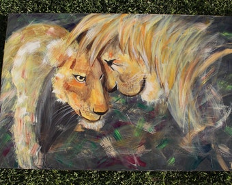 Love and Protection - Lion and lioness original painting 36 x 24 inches