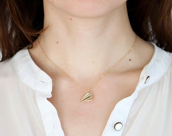 Paper airplane necklace travel necklace under 25 birthday gift for birthday 14k gold necklace gold delicate necklace friends gift for friend