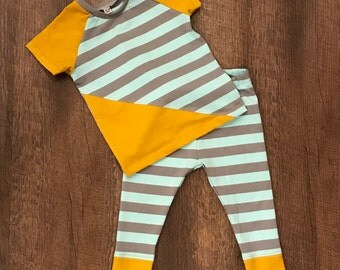 Organic baby boy cotton knit outfit/12-18 month/ baby boy clothing/ baby clothing/ organic baby's shirt/organic baby's pants