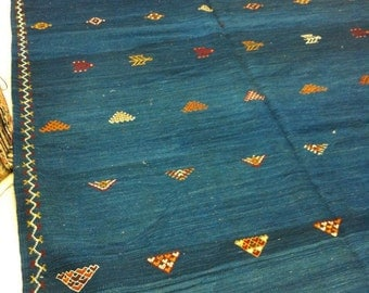 Blue Moroccan Kilim with ethnic handmade