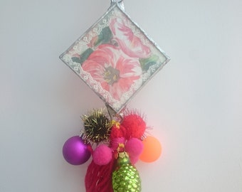 Georgia O'keeffe  fowers inspired glass decoraton, glass hanging, Christmas decor, vintage lace, ribbon, tassels, baubles, light catcher,