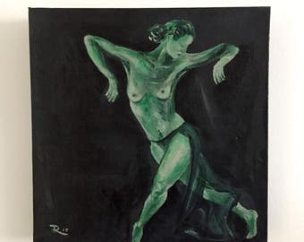 Dancing in green light-acrylic paintings--small painting-square-Dim. 30 x 30 x 3 cm