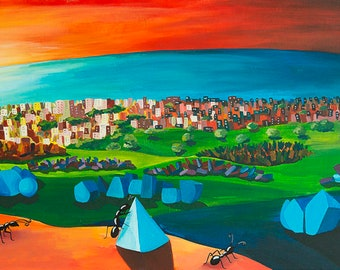 "Hand painted canvas titled ""Build"" dimensions 132 x 52 cm"