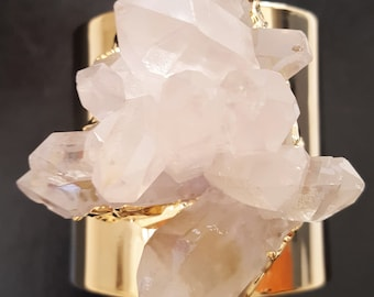 Crystal Quartz Gold Cuff