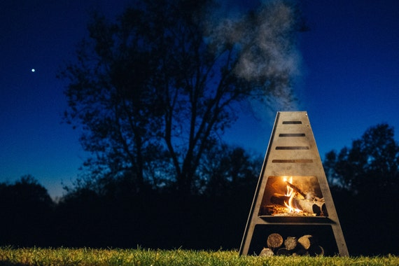 Blaze Tower Metal Chiminea Outdoor Fireplace Fire Pit