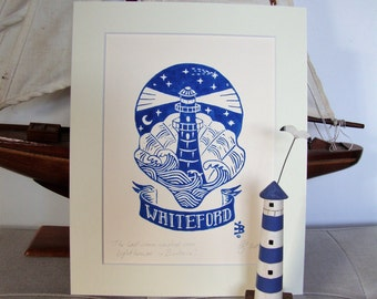 The last wave-washed iron lighthouse in Britain, Whiteford Gower. Original linocut print