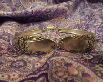 "Antique Silver Plate Spoon Bracelet - Rogers ""First Love"" 1937"