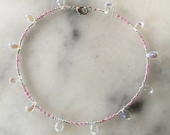 Moonstone Anklet with Pink and Clear Seabeads