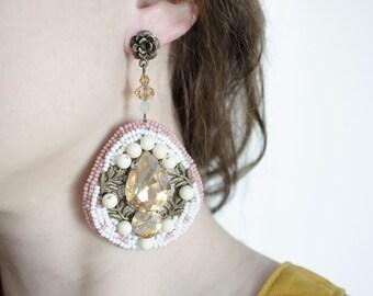 Big white crystal earrings  Party long beadwork earrings  Bridesmaid embroidered earrings  Evening look  Luxury floral earrings  Seed bead
