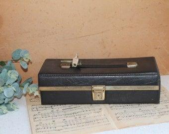 Black Leather Cassette Holder/ Cassette Storage/ Leather Holder and Key/ 1970/80s Leather Case/SALE (0023U)