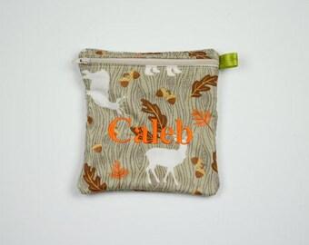 Reusable Sandwich Bag, Deer, Hunting, Fall, Zippered Sandwich bag, Snack Bag, Monogrammed, Lunch, Large wet bag, washable bag