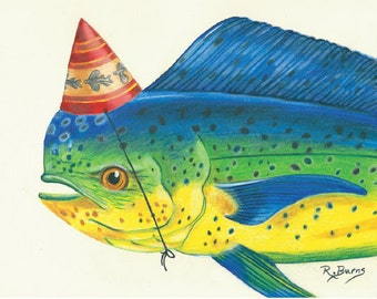 Party Dorado Fish Print Gifts for Him Fishing Fisherman Roxanne Burns Flying Hostess Gift Gamefish California Deep Sea notecards Art
