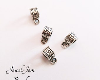 Silver Alloy Symbol Bails small Charms Spacer Beads Jewelry Finding patterned Holder, 10*4mm Silver Tone