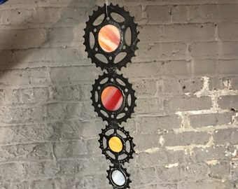 Orange stained glass sprocket fusion