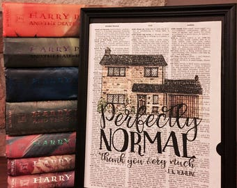"Number 4 Privet Drive - ""Perfectly normal, thank you very much"" - Harry Potter and the Sorcerer's Stone Dictionary Print - Framed Wall Art"