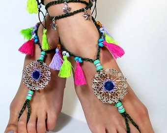 ON SALE 25%off barefoot sandals Barefoot Beach Jewelry Barefoot shoes, Beach Jewelry Hippie Foot Jewelry, festival accessories, yoga toe, ga