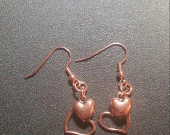 Bright Copper Double Heart Dangle Earrings