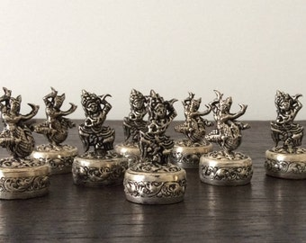 Antique Siam Place Card Holders / Thailand / Indian / Burma / Sterling Silver / Asian