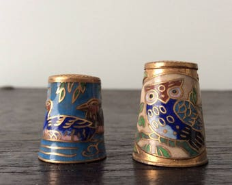 2 Antique Cloisonné Enamel Thimbles / Own / Bird / Duck