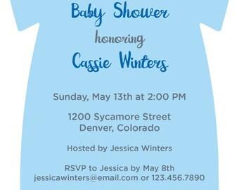 Printed Onesie Baby Shower Printed Invitations