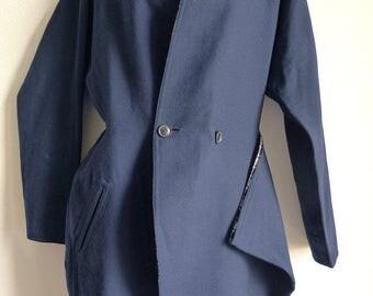 Gothic Yohji Yamamoto navy blue wool asymmetric coat
