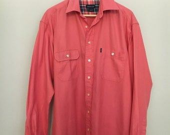 Coral GANT VNGT long sleeve 100% cotton preppy button up large oversized slouchy casual fit Menswear style