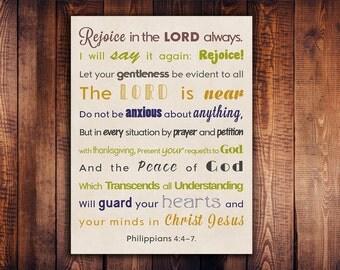 Philippians 4 4-7. Digital Wall Art.