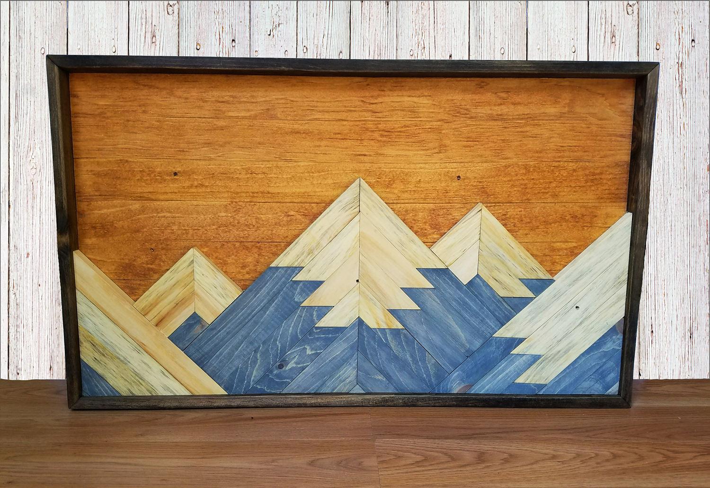 zoom Mountain Range Reclaimed Wood Wall Art