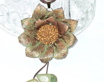Pendant boho flower. Green necklace, Original, organic necklace
