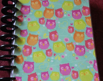 Happy Planner 9 Ring Cover - Colorful Cartoon Owls - Reversible - Punched and ready to use