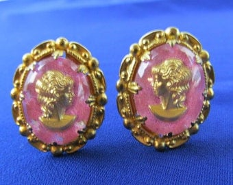 Prong Set Cameo Clip On Earrings W Germany Plastic Pink Gold Tone FREE US SHIPPING