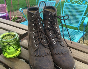 Vintage 90's Granny Grunge Justin Leather Lace Up Ladies Womens Boots