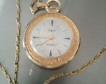 "Vintage Sheffield Swiss Made Watch - On Chain - ""Skeleton"" style see thru BACK - necklace / pocket watch - vintage jewelry - Switzerland"